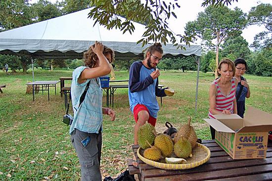 Tasting durian in Malaysia